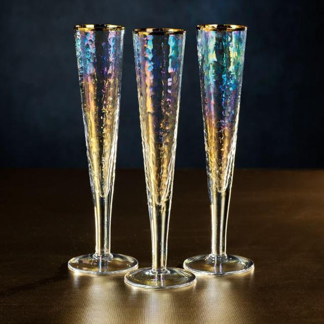 The Aperitivo Slim Champagne Flute - Luster finish with gold rim. Fabulous set of twelve champagne flutes that has a...