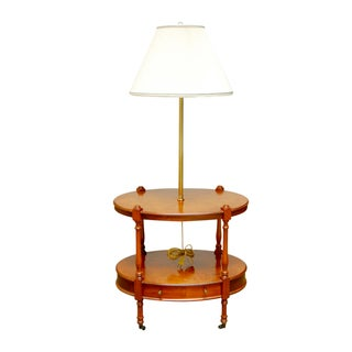 Frederick Cooper Two-Tier Side Table with Lamp For Sale