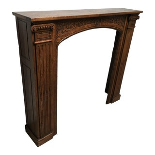 Antique Hand Carved Oak Fireplace Mantle For Sale
