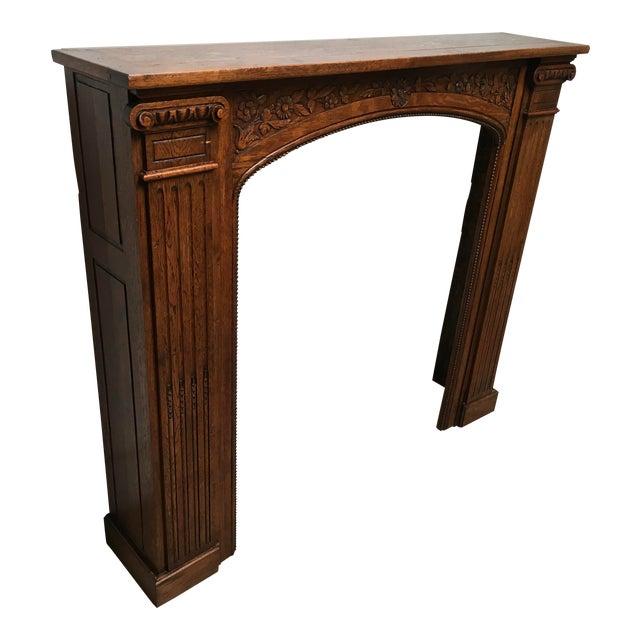 Antique Hand Carved Oak Fireplace Mantle For Sale