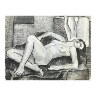 1937 Charcoal Female Nude John Ayres