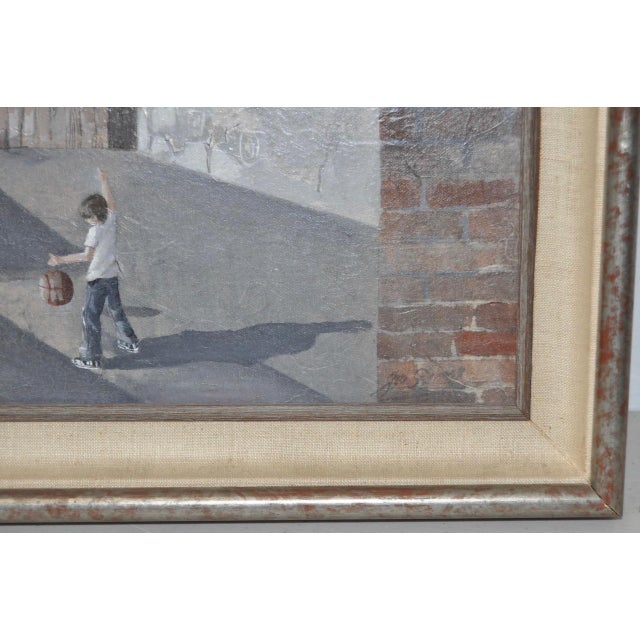 Yellow Inner City Basketball Court Oil Painting c.1970s For Sale - Image 8 of 9