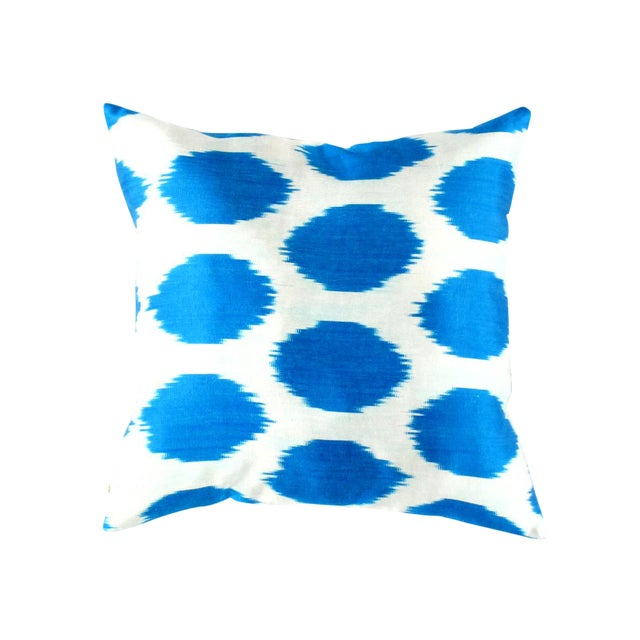 Contemporary Pasargad Oasis Collection Silk Velvet Ikat Pillow For Sale - Image 3 of 3