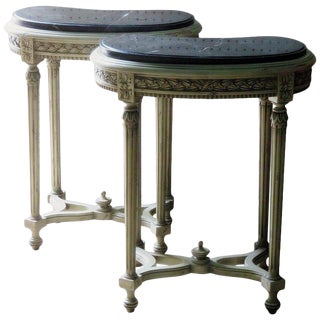 Pair of Petite Demilune Consoles For Sale