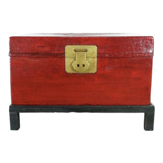 Antique Chinese Wood Trunk on Stand For Sale