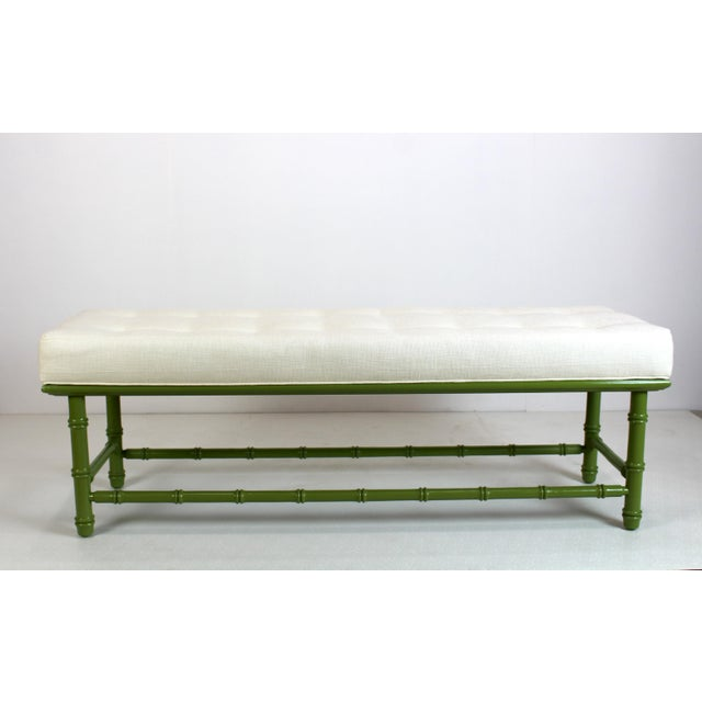 Mid Century Faux Bamboo Green Bench For Sale - Image 9 of 11