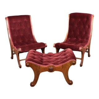 Antique Victorian Mahogany Velvet Tufted Slipper Chairs and Ottoman - Set of 3 For Sale