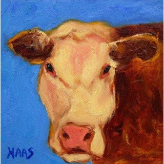 """Modern """"California Brown Cow"""" Original Oil Painting by Haas For Sale"""