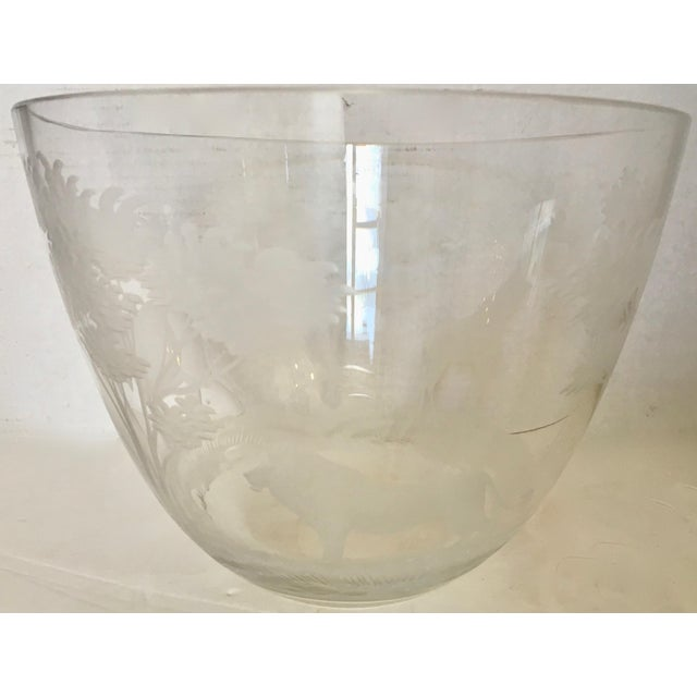 Mid-Century Modern Etched African Animals Vase / Bowl For Sale - Image 3 of 8