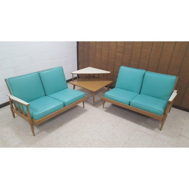 Mid-Century Turquoise Sofa & Table Set - Image 2 of 10
