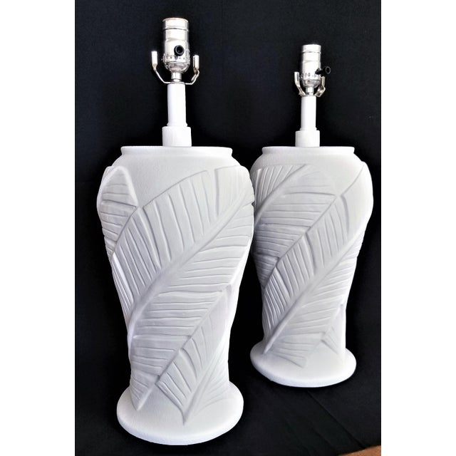 White Plaster Palm Banana Leaf Lamps in the Style of Serge Roche - a Pair For Sale - Image 13 of 13