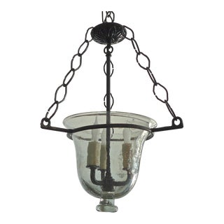 Small Vintage French Glass Bell Jar Pendant With Contemporary Wrought Iron Fittings For Sale