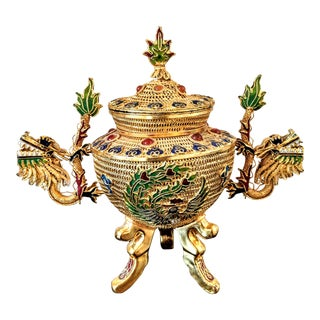Vintage Gold Gilt Filigree Enamel Chinese Dragon and Phoenix Censer For Sale