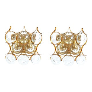 Pair of Gilded Brass and Crystal Sconces by Palwa For Sale