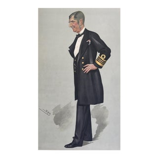"""1889 Vanity Fair Lithograph Print """"Admiral Sir John Commerell"""" by Leslie Ward"""