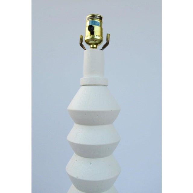 Jacques Grange Vintage Mid-Century Modern Plaster Zig-Zag Tiered Lamp For Sale - Image 4 of 13