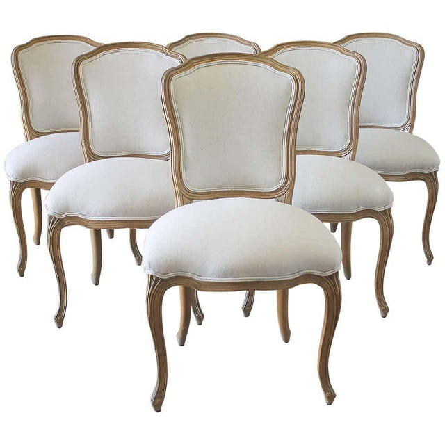Set of Six Wood Louis XV Style Dining Chairs in Natural Belgian Linen For Sale - Image 11 of 11