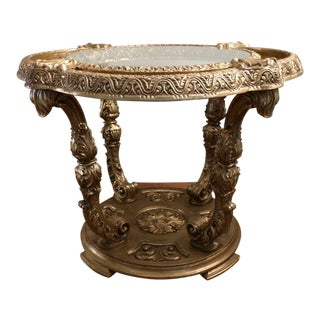 Gold Mid-Century Rococo Style Syroco Wood Glass and Mirror Top Table For Sale