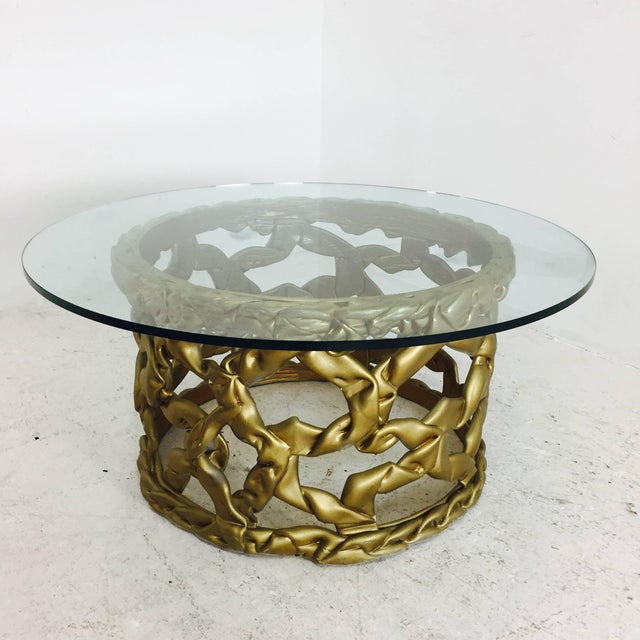 "Mid-Century Modern Gold ""Ribbon"" Coffee Table in the Style of Tony Duquette For Sale - Image 3 of 6"