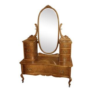 Antique Widdicomb Co. Maple Harlow Style Vanity For Sale