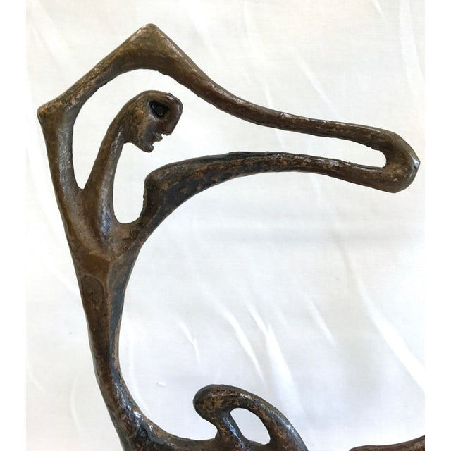 Vintage cast bronze abstract figural sculpture by Frederick Weinberg. Mounted on a wood base. Signed 'FW'. Very good...