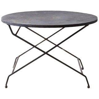 Round French Wrought Iron Folding Dining Table For Sale