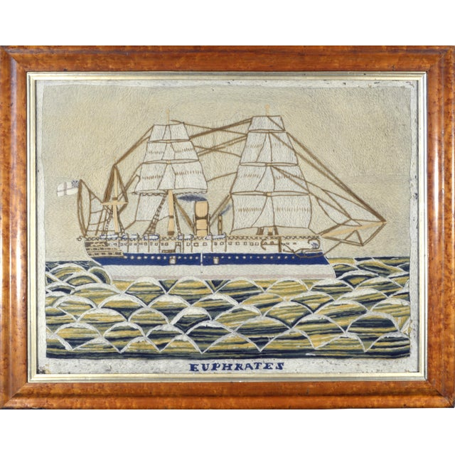 English Sailor's Woolwork Picture of HMS Euphrates - Image 1 of 2