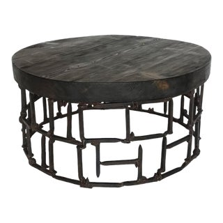 Round Vintage Railroad Spike Coffee Table For Sale
