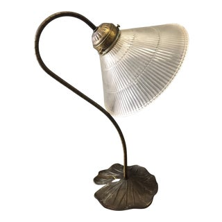 1970s L & L Wmc Goose Neck Metal Lily Pad Base Lamp For Sale