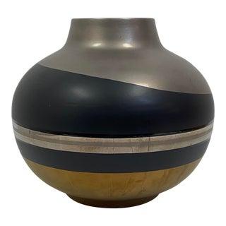 Alvino Bagni Metallic and Black Vase For Sale