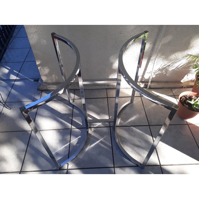 Hollywood Regency Milo Baughman Style Chrome Table Base For Sale - Image 3 of 7