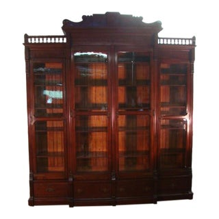 Victorian Walnut Large Fabulous Bookcase For Sale
