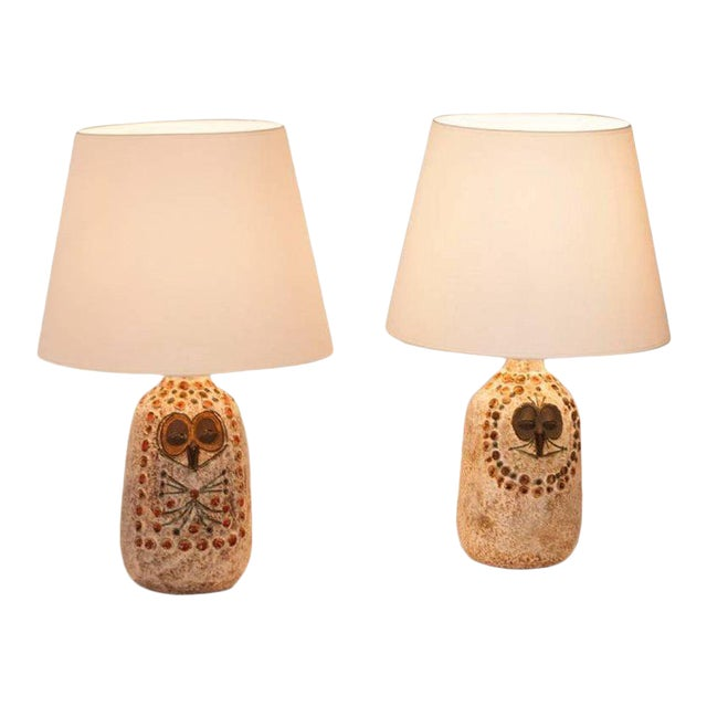 Pair of Mr. and Mrs. Owl Lamps by Raphael Giarusso Signed and Stamped, 1967 - Image 1 of 4