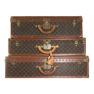 Vintage Hard Sided Louis Vuitton Luggage - Three pieces For Sale