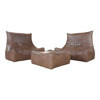 "Vintage Caramel Leather 3 Piece ""Rock"" Sofa Set by Gerard Van Den Berg for Montis For Sale"