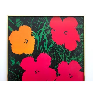 """Andy Warhol Foundation Rare Vintage 1993 Lithograph Print Framed Iconic Pop Art Poster """" Flowers """" 1964 Preview"""