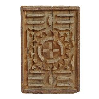 Antique Wood Print Block Panel For Sale