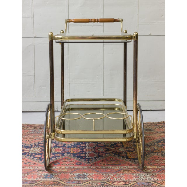 Brass Bar Cart With Glass Shelves - Image 4 of 11