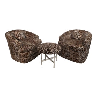 Pair of Midcentury Swivel Tub Chairs by Henredon For Sale