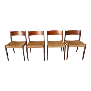 Italian 1960s Teak and Braided Rope Chairs - Set of 4 For Sale