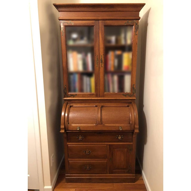 Antique Victorian Solid Oak Cylinder Roll Top Secretary Desk and Bookcase For Sale - Image 13 of 13