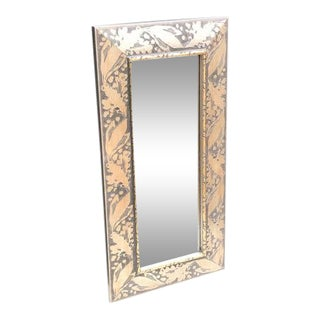 Silver-Frame Rectangular Wall Mirror For Sale