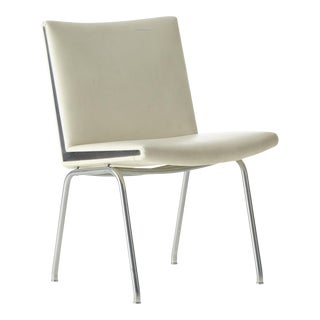 White Vinyl and Steel Kastrup Chair by Hans Wegner Made by a.p. Stolen For Sale