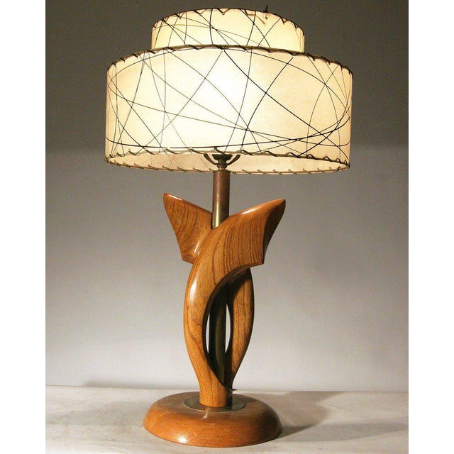 Yasha Heifetz Free-Form Oak and Brass Table Lamps, Pair - Image 7 of 7