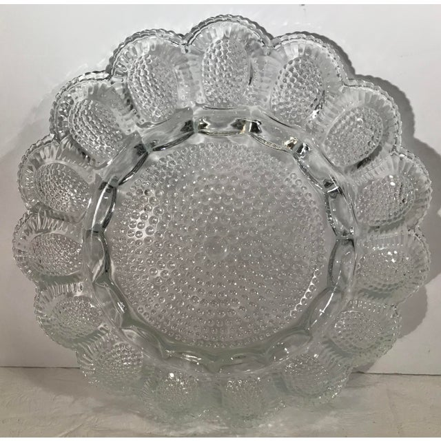 Mid 20th Century Vintage Clear Patterned Glass Egg Plate For Sale - Image 5 of 7