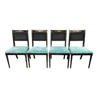 Vintage Black Laquer Cane Back Dining Chairs- Set of 4 For Sale