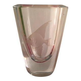 Vintage Etched Glass Vase For Sale
