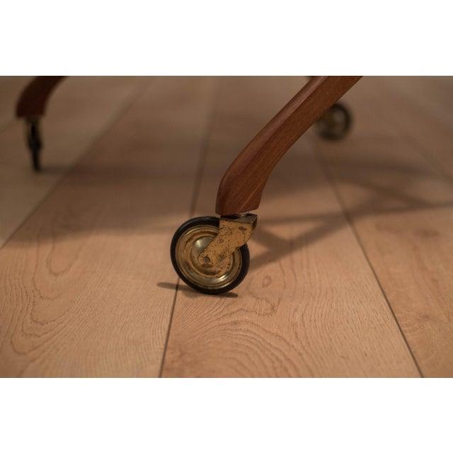 Brown Danish Modern Teak Folding Bar Cart For Sale - Image 8 of 10