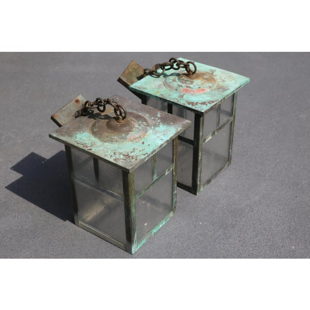 1970s Vintage Weathered Copper and Glass Outdoor Hanging Lanterns - a Pair For Sale - Image 5 of 10
