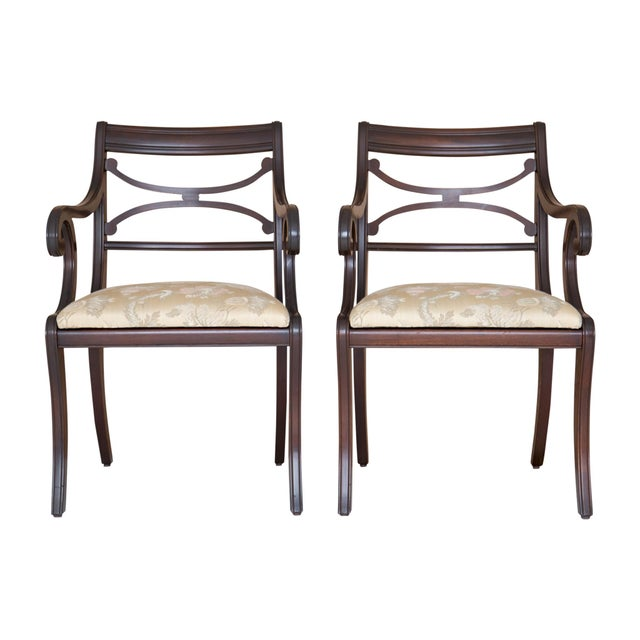 Regency Scrolled Armchairs - A Pair - Image 2 of 8